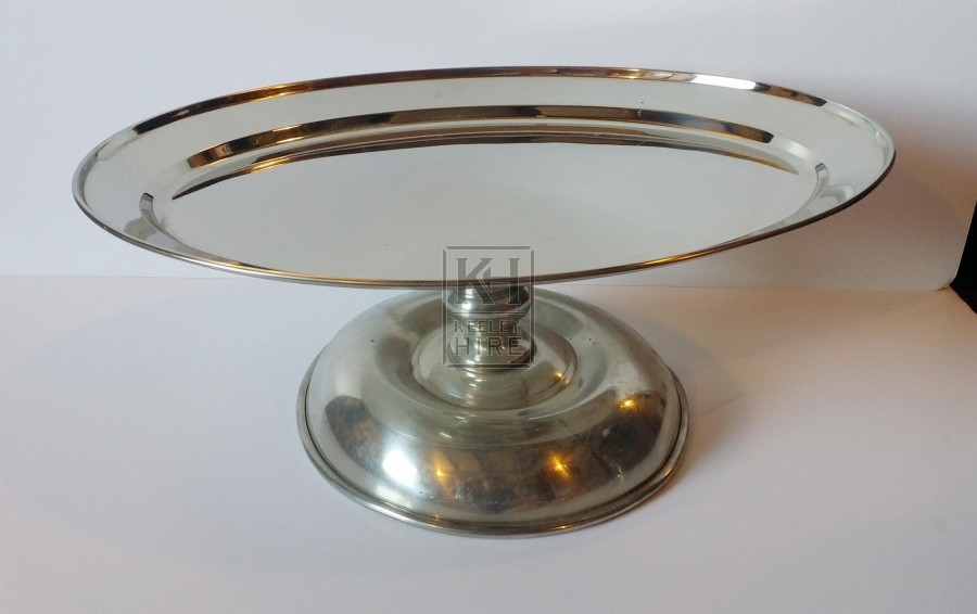 Silver oval plate on stand
