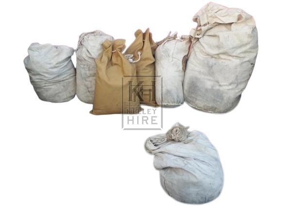 Assorted canvas sacks