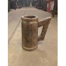 Wood & Metal Tankard with Carved Handle
