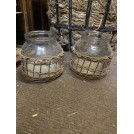 Glass Jar in Wicker Holder