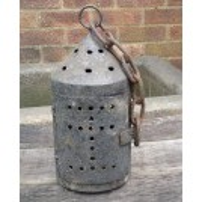 Grey iron pierced lantern