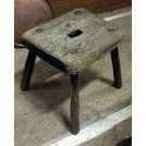 Square wood stool with hole