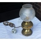 Brass oil lamp with large glass shade