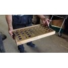 Wood tray with holes & handles
