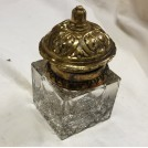 Small glass & brass inkwell
