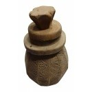 Carved wood pot with lid