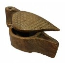 Carved pointed wood spice box