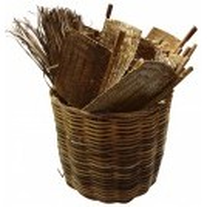 Basket of rattan fans