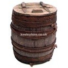 Wood barrel with hinged lid