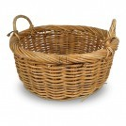 Round wicker basket with 2 handles