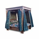 Large 4-poster bed with velvet drapes