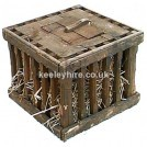 Wood chicken cage with solid top