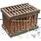 Slatted Wood Cage with opening top