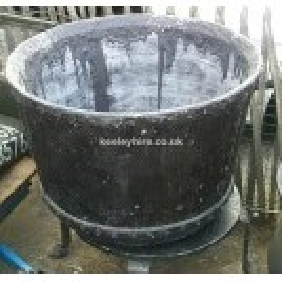 Large Fibre Glass Cauldron On Iron Stand