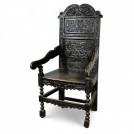 Shaped Top Dark Carved Wood Arm Chair