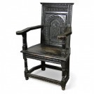 Dark Carved Wood Armchair