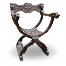 Polished Carved Wood Chair