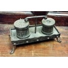 Rivetted Iron Writing Set With Inkwells