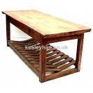 Rectangle pine table with rack