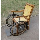 Period wood Wheelchair with rattan seat