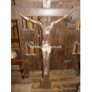 Large wood cross with carved Jesus