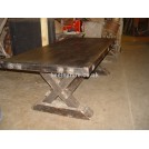 Dark wood table with X Legs