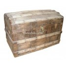 Dome top wood chest with rivetted bands