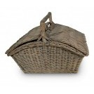 Wicker hand basket with 2 lids