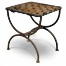 Iron Legged Leather Stool