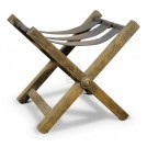 Wood & Leather X-frame Stool