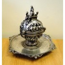 Large ornate silver inkwell