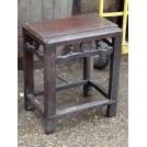 Oriental Carved Dark Wood Stool