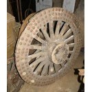 Large early cart wheel with iron rivets