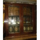 Small wood glass cabinet with dressing