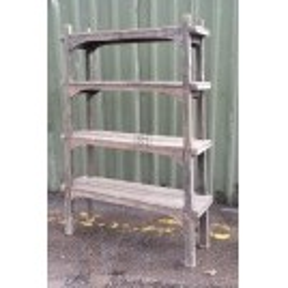 Floorstanding rough wood open shelf unit