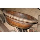 Large shallow wood bowl varnished
