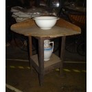 Simple wood wash stand with bowl & jug