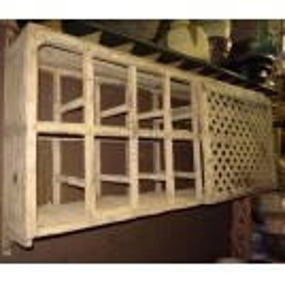 Wood lattice wall cupboard