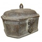 Small brass chest with shaped top
