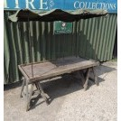 Trestle market stall with plain canvas
