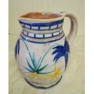 Blue & yellow painted white china jug