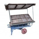 2-wheel coster barrow painted blue