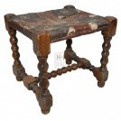 Carved Leg Leather Patterened Stool