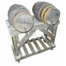 Double barrel stand with 2 barrels & tap