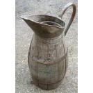 Large wood jug with copper banding