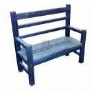 Thick wood bench with back