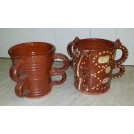 Brown tankards with multiple handles