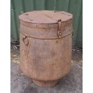 Large galvanised drum with ring handles