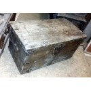 Flat top wood trunk with iron work