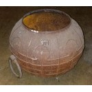 Large iron ornate cooking pot
